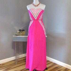 NEW My Michelle Pink Embroidered Maxi Dress Sz XS